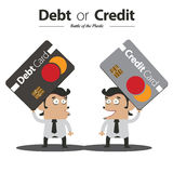 Debt or Credit. Battle of the Plastic Card Stock Photo