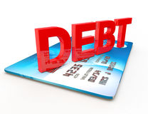 Debt on a credit card cut out on white stock illustration