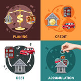 Debt Credit Concept 4 Flat Icons. Debit credit balances bookkeeping budget planning concept 4 flat infographic elements icons square composition  vector Royalty Free Stock Images