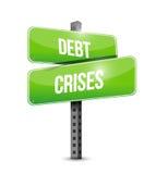 Debt crises street sign illustration design Royalty Free Stock Photos