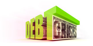 Debt Crisis. With Currency Note Royalty Free Stock Photography