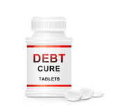 Debt cure concept. Illustration depicting a single white and red  medication container with the words 'debt cure tablets' on the front with white background and Stock Photography