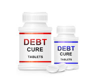 Debt cure concept. Illustration depicting two medication containers with the words 'debt cure tablets' on the front with white background and a few tablets in royalty free illustration
