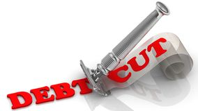 Debt cut. Fiancial concept. Razor cuts the word DEBT. On shavings word CUT. The concept of debt reduction. 3D Illustration Royalty Free Stock Photos