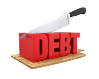 Debt Cuts Concept. Isolated on white background. 3D render Stock Photography
