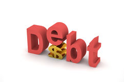Debt 3d. 3d debt and dollar on white background Royalty Free Stock Images