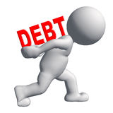 Debt. 3d people - human character , person carry debt concept . 3d render Royalty Free Stock Photos