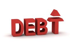 Debt 3d. A picture of debt rise, letter T with a red arrow Royalty Free Stock Image