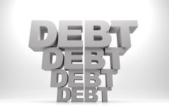 Debt After Debt. 3d render illustration of words of debt in stack one after another Stock Photos
