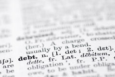 Debt; Definition in English Dictionary. Royalty Free Stock Photography