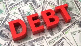 Debt on the dollar background Stock Images