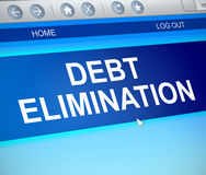 Debt elimination concept. 3d Illustration depicting a computer screen capture with a debt elimination concept Royalty Free Stock Images