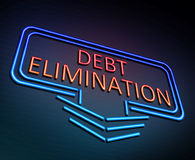 Debt elimination concept. 3d Illustration depicting an illuminated neon sign with a debt elimination concept Stock Photo