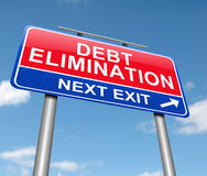Debt elimination concept. 3d Illustration depicting a sign with a debt elimination concept Stock Photos