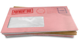 Debt Envelope Stack. A stack of regular envelopes with delivery stamps and a clear window and the top pink one saying payment due symbolizing bills and debt on Stock Photography