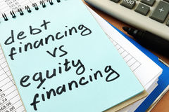 Debt financing vs equity financing. Note with sign debt financing vs equity financing Stock Photography