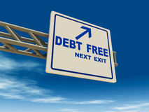 Debt free. Going debt free road sign against a blue sky, concept of going debt and credit card free stock illustration