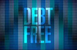 Debt free binary sign concept Royalty Free Stock Images