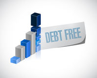 Debt free business graph sign concept Stock Photography