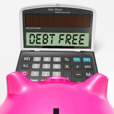 Debt Free Calculator Means No Liabilities Or Debts Stock Photo