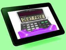 Debt Free Calculator Tablet Means No Liabilities Or Debts Royalty Free Stock Photos