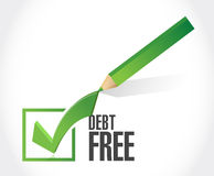 Debt free check mark sign concept. Illustration design over white Royalty Free Stock Image