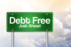 Debt Free Green Road Sign Royalty Free Stock Photo