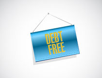 Debt free hanging sign concept illustration Stock Photo