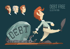 Debt free illustration Stock Image