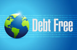 Debt free international globe sign concept Royalty Free Stock Photos