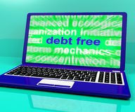 Debt Free Laptop Means Financial Freedom And No Liability. Debt Free Laptop Meaning Financial Freedom And No Liability Royalty Free Stock Photos