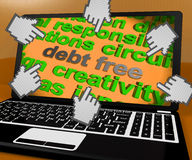 Debt Free Laptop Screen Shows Good Credit Or No Debt Stock Images
