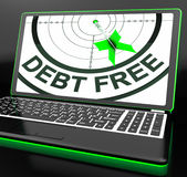 Debt Free On Laptop Showing Financial Discharge. Or Monetary Recovery Royalty Free Stock Image