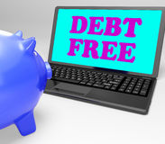 Debt Free Laptop Shows No Debts And Financial. Debt Free Laptop Showing No Debts And Financial Freedom Royalty Free Stock Image