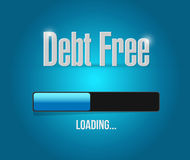 Debt free loading bar sign concept. Illustration design over blue Royalty Free Stock Photo