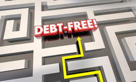 Debt Free Maze Budget Pay Off Credit Cards. 3d Illustration Stock Photos