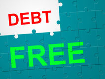Debt Free Means Debit Card And Arrears Royalty Free Stock Photography