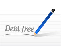 debt free message sign concept illustration stock illustration