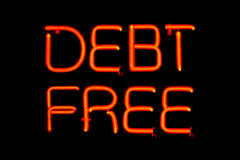 Debt Free neon sign Royalty Free Stock Images