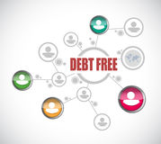Debt free people network sign concept. Illustration design over white Stock Image