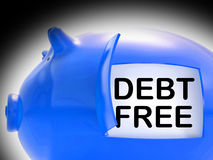 Debt Free Piggy Bank Coins Means Money Paid Off Royalty Free Stock Image