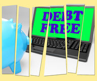 Debt Free Piggy Bank Shows No Debts And Financial Freedom Stock Photography