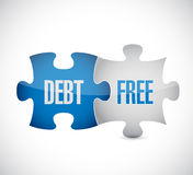 Debt free puzzle pieces sign concept Royalty Free Stock Photos