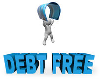 Debt Free Represents Financial Freedom And Banking 3d Rendering. Debt Free Meaning Financial Freedom And 3d Rendering Stock Photos