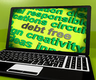 Debt Free Screen Shows Good Credit Or No Debt Royalty Free Stock Image