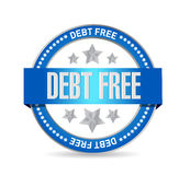 Debt free seal sign concept illustration. Design over white Royalty Free Stock Photo
