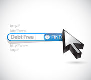 Debt free search bar sign concept illustration Royalty Free Stock Photography