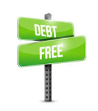 Debt free street sign concept illustration Royalty Free Stock Photo