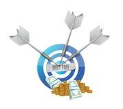 debt free target money sign concept Stock Image
