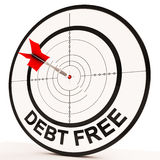 Debt Free Target Shows Economic Financial Success Royalty Free Stock Image